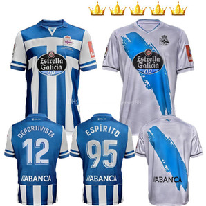 2020 2021 Deportivo de la Coruna Soccer Jerseys Home Kit Kit Kit Enfants Mollejo M.Kone Sabin Aketxe Santos 20 21 Jersey Uniforms Chemises de football
