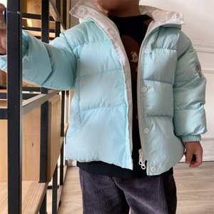 TT8248 blue scarf down jacket for boys and girls white duck down jacket down jacket warm hat coat Y1113