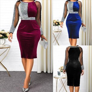 40 Elegant Dress Women Sexy Sparkling Mesh Round Neck Dress Zipper Party Formal Bodycon Vestidos Robe De Noche