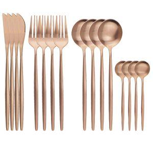 16Pcs Rose Gold Cutlery Knife Fork Coffee Spoons Dinnerware Stainless Steel Tableware Western Kitchen Silverware Set Y1119