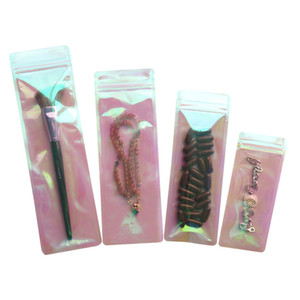 100pcs Lot Laser Jewelry Plastic Ziplock Bag Cosmetics, Makeup Tools, Electronic Parts Packaging