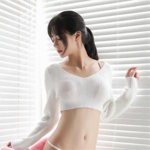 moda mujer 2020 Sexy ultrashort V neck thin Nightclub Party Japan tops haut student jumper pull up traf sueter aachoae kpytomoa