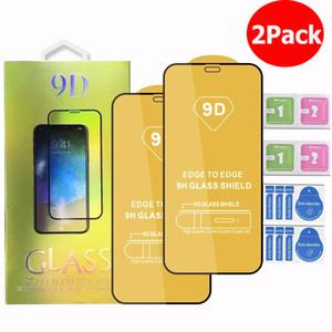 Para iPhone 12 11 Pro Max iPhone XR X XS Samsung A71 A51 5G A01 A11 A21 A31 A41 9D Protetor de tela de vidro temperado 2PCS em 1 pacote