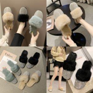 USPEX FLOPS DENER THAPPER ANDERSON Пушистые тапочки Высокое Качество Realfur Slides Внутренняя плюшевая Этель Повседневная обувь Сияющая женщина