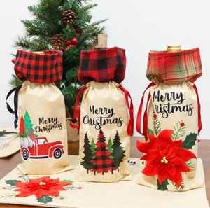 Bottle Cover Christmas linen Wine Bottle Cover Bag Xmas Wine Bottle Xmas Party Decorations Dinner Table Decor Gifts Supplies
