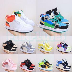 Высокое качество Jumpman 1 1s Дети Баскетбол обувь Digital Pink UNC обсидиан Чикаго коренастый Dunky мальчиков Детский кроссовки J1 Спортивные тренажеры