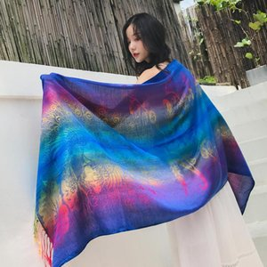 Ethnic Style Scarf Designer Brand Hijab Womens Bohemian Hippie Gradient All-match Tassels Scarves Travel Blanket New Arrival