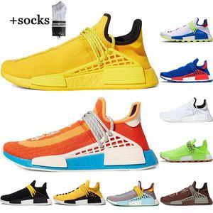 С бесплатными носками человеческая гонка Hu Pharrell Williams женщин беговые туфли белый черный желтый MeneComing мужские тренер спортивные кроссовки EUR36-45
