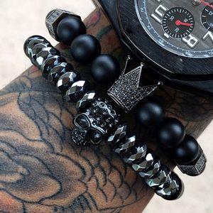 Mcllroy Bracelet Men skull steel stone beads luxury bracelets For Mens Crown Cz Zircon Man Bracelet Homme Jewelry Valentine Gift C19041703