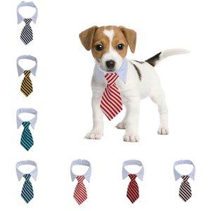 Çizgili Pet Kravat Yüksek Kalite Polyester Pamuk Beyefendi Tarzı Köpek Kedi Ayarlanabilir Kravat S M PET Tımar Malzemeleri