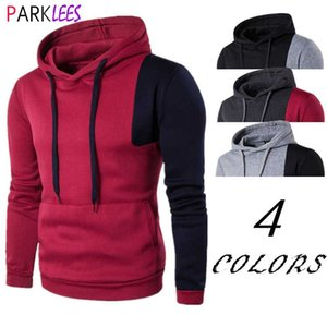 Red Black Patchwork Sweatshirts Men Hoodies 2020 Fashion Contrast Design Mens Hooded Sweatshirt Hip Hop Hipster Hit Sweat Homme