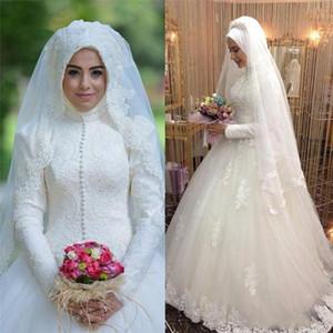 Arabisch-Brautkleid Islamische langärmlige muslimische Hochzeitskleid arabischer Ballkleid Spitze Hijab-Hochzeitskleid 2021