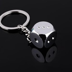 Free DHL HOT keychains Super Deal New Creative Key Chain Metal Genuine Personality Dice Alloy Keychain For Car Key Ring Trinket GWF4239