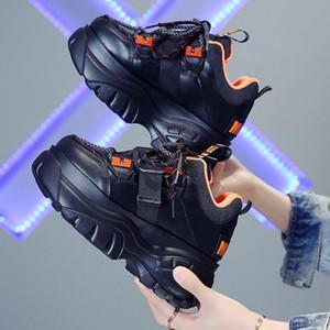 Kış Chunky Sneakers İçin Kadınlar Moda Bayan 7cm Takozlar Tasarımcı baba Günlük Ayakkabılar Kadın Deri Spor Platformu Sneakers 2019