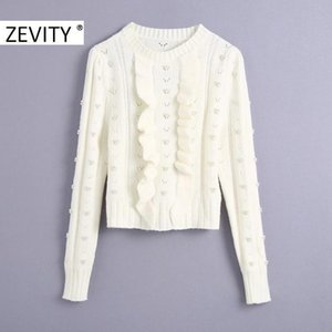 Zevity New Women O Neck Agaric Lace Pearl Beading Knitting Sweater Female Chic Puff Sleeve Hollow Out Ruffles Pullover Tops S446