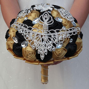 Luxury Diameter 15 18 21 24CM Wedding Bouquet Bridal Bridesmaid Bouquets Black Gold Ribbon Rose Brooches Bride Holding Flower