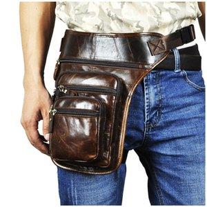 Genuine Leather Men Design Casual Tablet Satchel Sling Bag Multifunction Fashion Travel Waist Belt Pack Leg Bag Male 3111-c