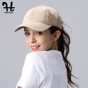 FURTALK Ponytail Baseball Cap for Women Vintage Black Baseball Caps Mens Snapback Hip Pop Cap Washed Cotton Hat for Female Y1130