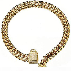 Top quality 14mm 10~24inch Gold Tone Curb Cuban Pet Link Stainless Steel CZ Clasp Dog Chain Collar Wholesale Pet Necklaces