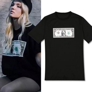 Women US Dollar Money T-Shirt Summer Hot Sale Tops Shortsleeve Cotton Skinny Tee Girl's YFJM