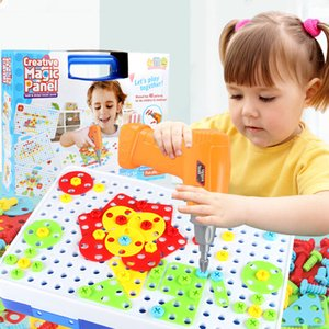 Bambini Driporta Giocattoli Puzzle Giocattoli educativi creativi Viti elettrici Drill Elettrico Assemblaggio Assemblato Mosaico Design Boy Frennale Building Toys LJ201009