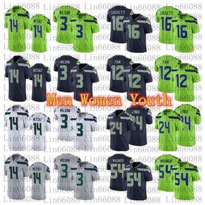 2020 Novos Homens 3 Russell Wilson 14 DK Metcalf 54 Bobby Wagner 24 Marshawn Lynch 16 Tyler Lockett Mulheres Jersey Youth
