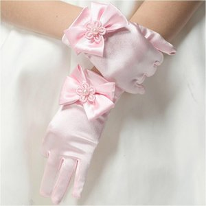 Keaiyouhuo Çocuk Prenses Elbise Eldiven Bayanlar Eldiven Kısa Bebek Çocuk Elbise Kız Düğün Çiçek Kız Yay Için