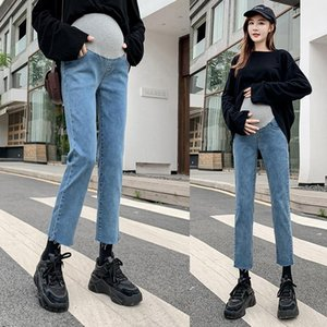 6089# Autumn Spring 9 10 Denim Maternity Jeans High Waist Belly Slim Straight Pants Clothes for Pregnant Women Pregnancy Trouser
