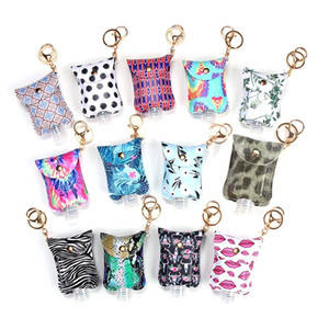 29 Designs Hand Sanitizer Leather Keychain Holder Case Refillable Containers 60ml Flip Cap Reusable Bottles with Keychain Carrier