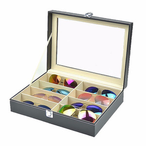 8 Grid Glasses Storage Display Case Box Eyewear Sunglasses Jewelry Watches Display Organizer Leather Tray Organizer Holder Box Q0120