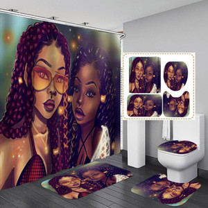 Sexy Sisters African Shower Curtain Fabric Bathroom Curtains Set Afro America Women Girl Non-slip Bath Mat Toilet Pad Carpet
