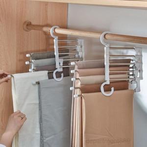 5 In 1 Multi-functional Rack Adjustable Pants Tie Storage Shelf Closet Organizer Stainless Steel Clothes Hanger OWB2903