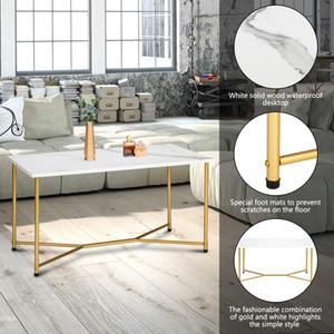 Mesa de centro moderna Y-pierna imitación mármol madera textura sala de estar muebles de casa blanco en stock