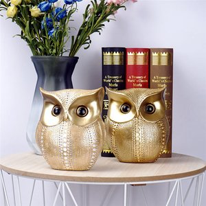 Nordic Resin Spots Golden Owl Figurine Creative House Accessories Owl Decoration Home Decor Garden Miniatures Ornaments