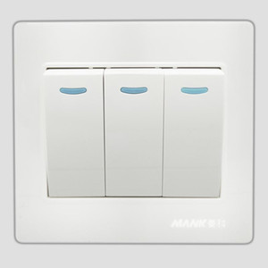 Universal 3 Gang 2 Way Push Button Safety Steel Frame Wall Switch Triple Panel Three Open Single Control Panel 250V 10A