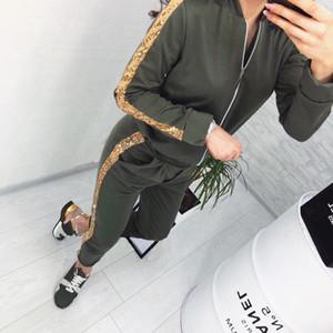 2021Wonens Trajes de primavera otoño moda casual lentejuelas costura chaqueta pantalones deportes traje mujer ropa