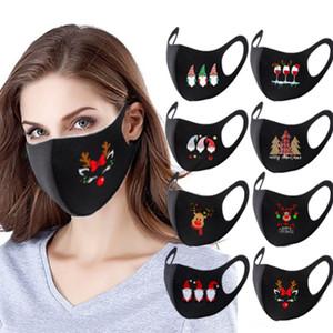 máscara diseñador de Navidad de Santa cara de la jirafa diseñador máscara de impresión máscara a prueba de polvo para adultos unti niebla de polvo clásicas máscaras negras FWE2823