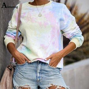 AIMSNUG Mode Sweatshirts Frauen Kausal Rainbow Printed Basic Sweatshirt Langarm Pullover Tops Sudadera Mujer Pullover Y200706