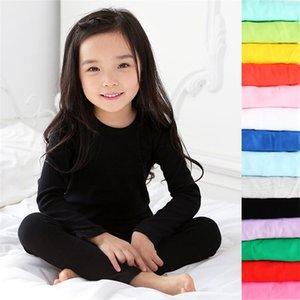 Kids Pajamas Set Children Sleepwear Baby Pajamas Sets Boys Girls Candy Color Pyjamas Cotton Nightwear Clothes Kids Clothing 2-11 LJ201216