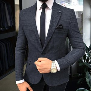 Aesido Men's Suit Jacket Slim Fit Plaid Wool Blazer Formal Office Business Jackets for Wedding Grooms 2021