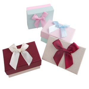 Gift Boxes with Ribbon Bowknot Jewelry Earrings Necklaces Lip Packaging Gift Box INS Gift Packaging Case DHB4552
