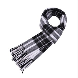 Mens Scarf Cashmere Plaid Shawls Classic Fringed Blanket Pashmina with Tassel Thickened Warm Winter Tartan Wrap