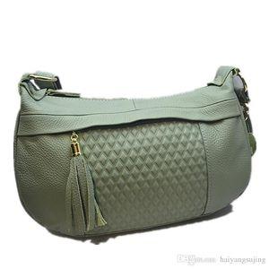 Brand Soft Retro Women Bags Genuine Leather Tassel fashion Shoulder Messenger Bag Solid More Color Female Ling grid travel Handbag