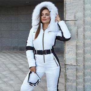 2020 Kış kadın Kapüşonlu Tulumlar Pamuk Yastıklı Sıcak Sashes Kayak Olmadan Kemer One Piece Rahat Eşofmanlar