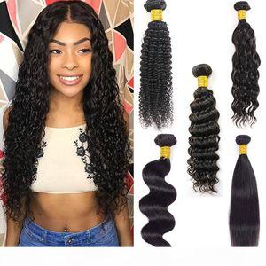Brazilian Straight Virgin Human Hair Bundles Raw Unprocessed Indian Hair Body Water Wave Extensions Deep Wave Kinky Curly Wefts Bulk Order