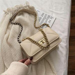Chain New Bag Handbag Mobile Messenger Casual Ladies PU 2020 Pure Phone Color Lattice Handbag Fashion Shoulder Bag Gqusv