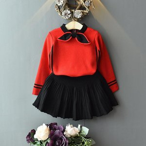 wholesale Children's clothing girl suit baby knit Bowknot shirt+Pleated skirt set two-piece Children's suits 201202