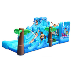 Large Dolphin Water Slide Family Use Inflatable Calstle Combo Water Slide Pool Outdoor Kids Inflatable Combo With Air Blower Fun In Backyard