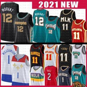 JA 12 Morant Zion TRAE 11 Williamson Young Lonzo Basket Ball Jersey Ball MemphisGrizzly.Nuovo Atlanta.Hawk Orleans.Pellicani