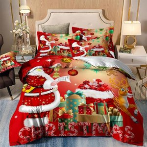Wongs bedding red christmas Bedding Set Duvet Quilt Cover Single Double Twin Queen King Size 3pcs